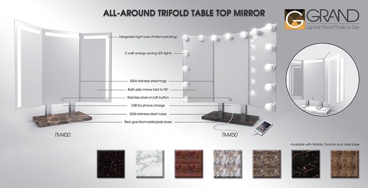 ... Trifold Table Top Mirror Does. You Can Angle The Two Side Mirrors To  Help You Get The Best View Possible. All Three Sides Are Lit And It Comes  With A ...